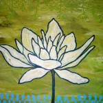 Colorful painting, white lotus on green background