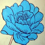 Contemporary, blue, rose, flower