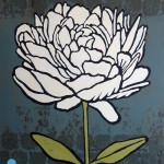 white peony on gray background with blue dots