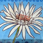 contemporary, white flower on blue background