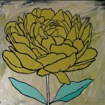 yellow peony on cream background with aqua leaves