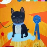 black french bull dog on orange background