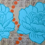 aqua blue flowers on beige damask background with orange dots