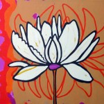 white flower on pink, orange background