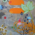 colorful flower like objects on gray ikat background