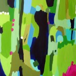 green abstract with magenta and blue highlights