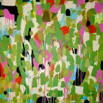colorful abstract with greens, blacks, creams, and hot pinks